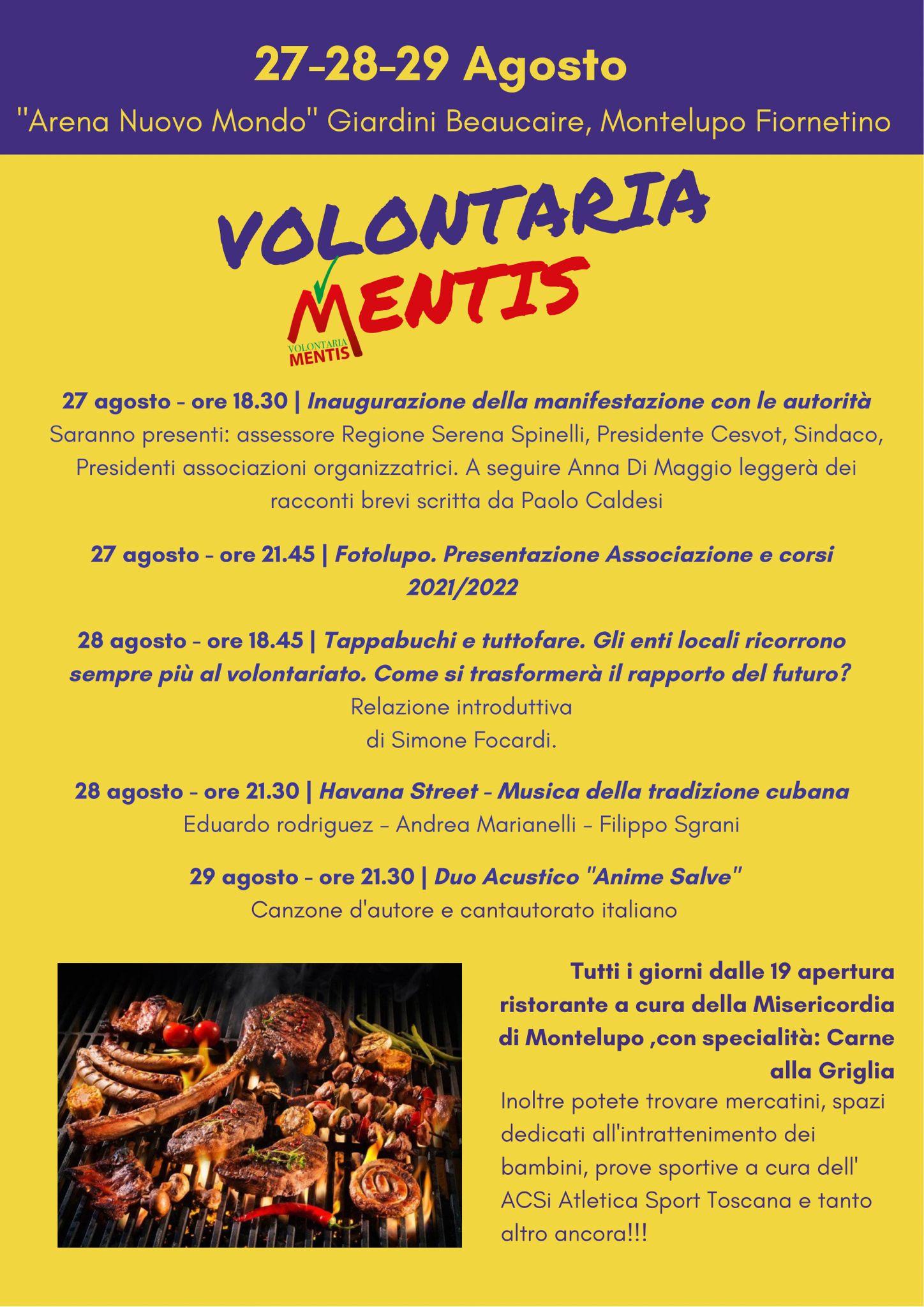 Ricreazione, politica, gastronomia, musica e dibattiti per la prima settimana della festa VolontariaMentis